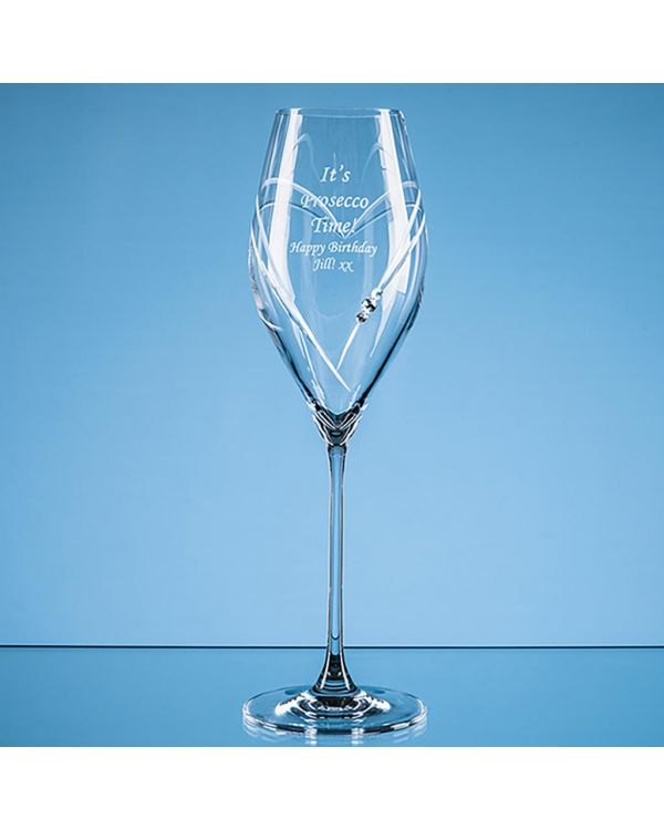 320ml 'Just For You' Diamante Prosecco Glass with Heart Shaped Cutting