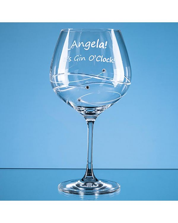 610ml 'Just For You' Diamante Gin Glass with Spiral Design Cutting