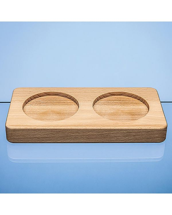Double 80mm Recess Beech Wood Base - Base Only