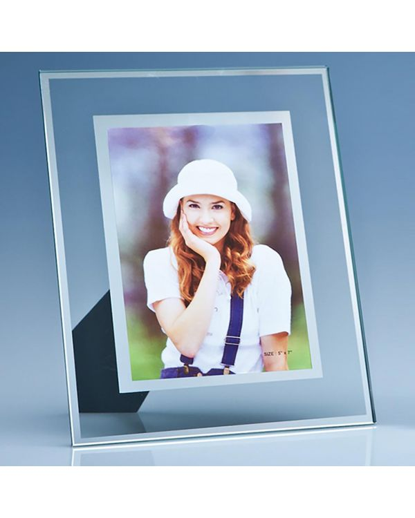 """Clear Glass Frame with a Mirror Inlay for 5"""" x 7"""" Photo, V"""