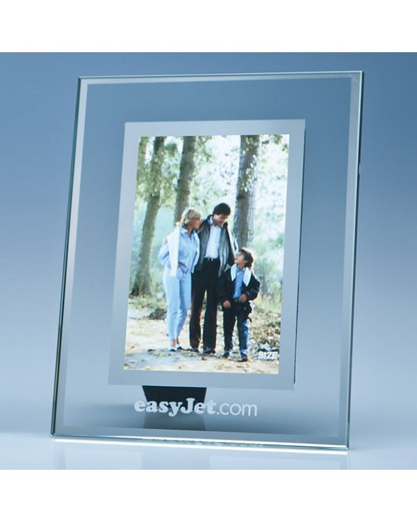 "Clear Glass Frame with a Mirror Inlay for 4"" x 6"" Photo, V"
