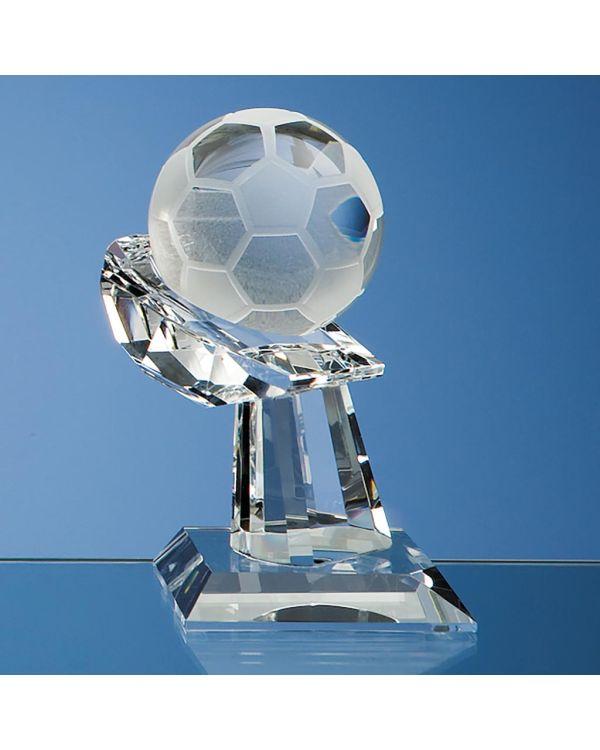 6cm Optical Crystal Football on Mounted Hand Award
