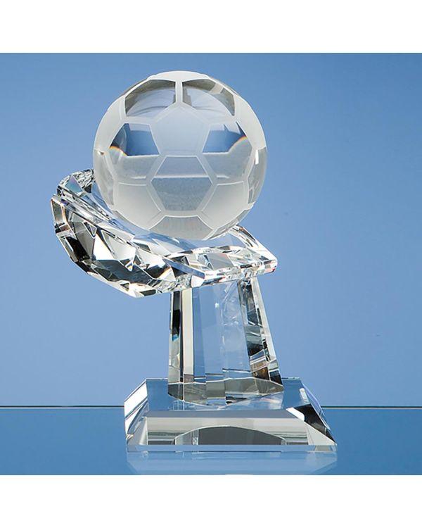 8cm Optical Crystal Football on Mounted Hand Award