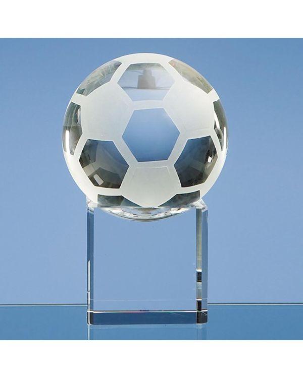 8cm Optical Crystal Football on a Clear Crystal Base