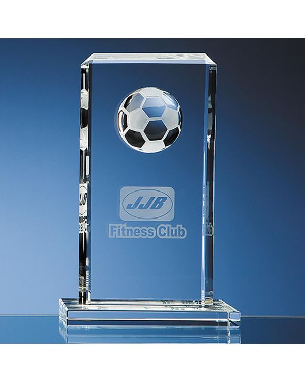 24cm Optical Crystal Football Rectangle Award