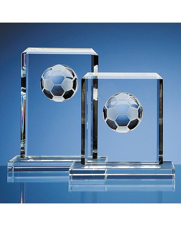 19cm Optical Crystal Football Rectangle Award