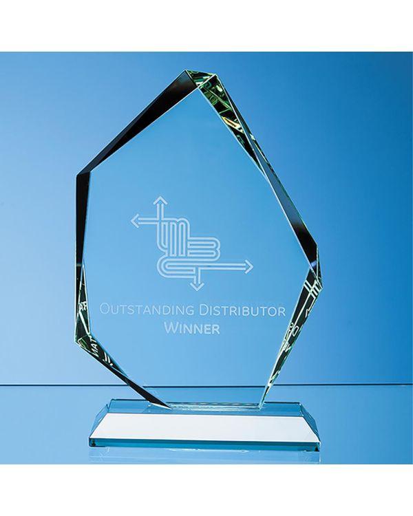 20cm x 14.5cm x 19mm Jade Glass Facetted Ice Peak Award