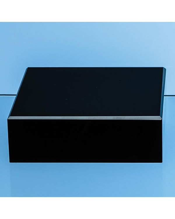 12.5cm Onyx Black Optical Crystal Square Base