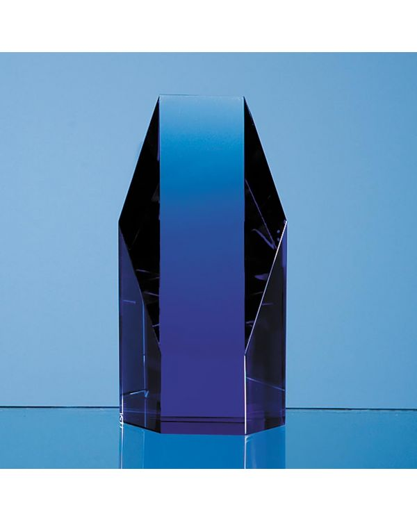 12.5cm Sapphire Blue Optical Crystal Hexagon Award
