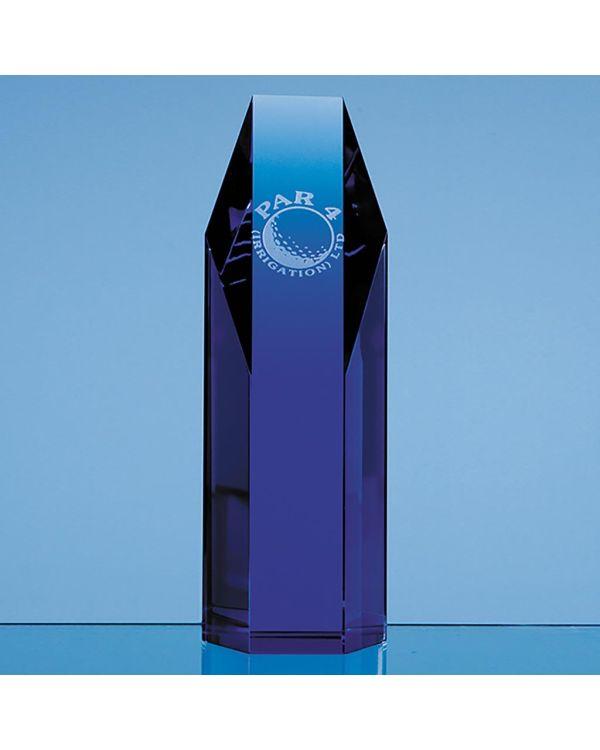 19cm Sapphire Blue Optical Crystal Hexagon Award