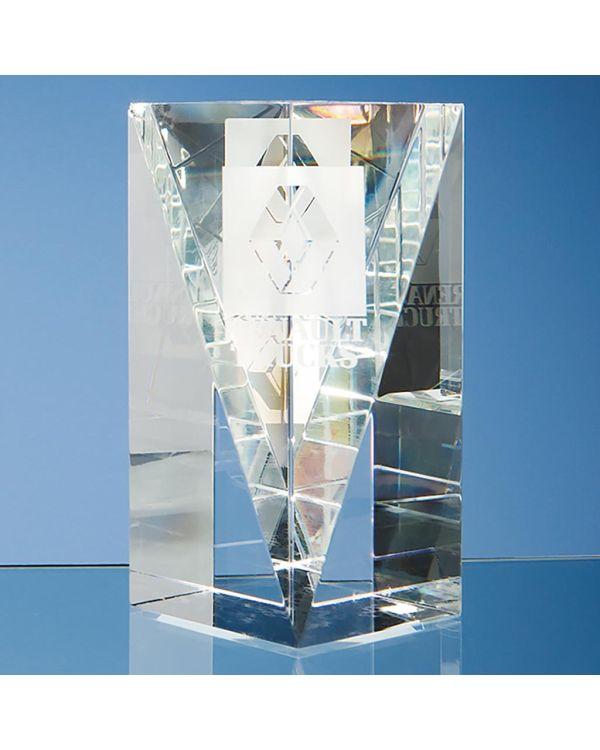 15.5cm Optical Crystal Facet Rectangle Award