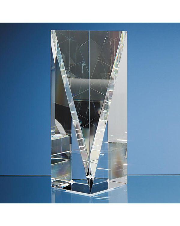 20.5cm Optical Crystal Facet Rectangle Award