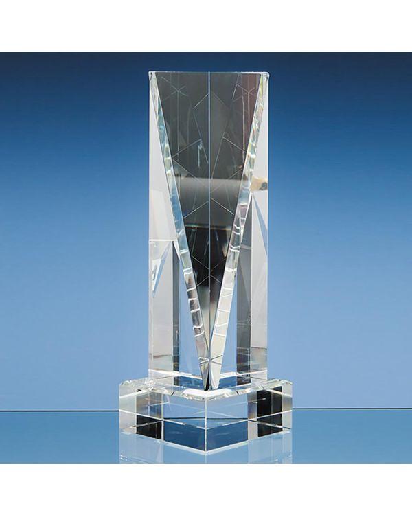 25.5cm Optical Crystal Facet Rectangle Award