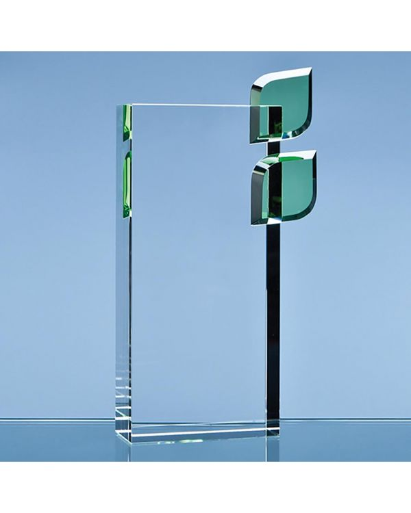 22cm Optical Crystal 'Eco Excellence' Award with Double Green Leafs