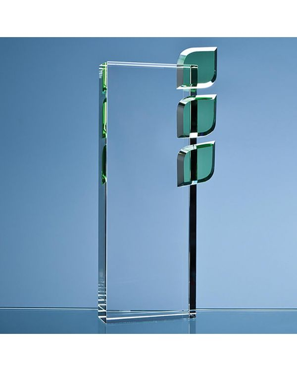 27cm Optical Crystal 'Eco Excellence' Award with Triple Green Leafs