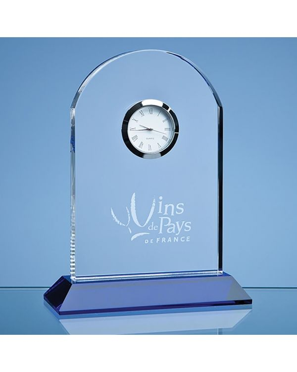 16cm Optical Crystal Arch Clock Mounted on a Cobalt Blue Base