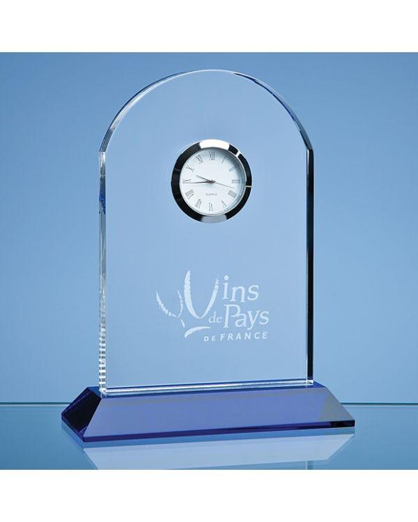 16cm Optical Crystal Arch Clock Mounted on a Cobalt Blue Base