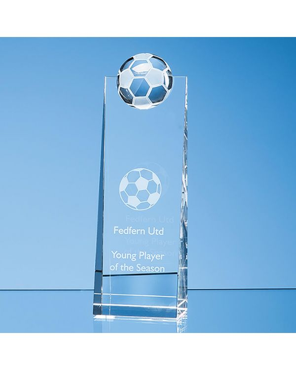 21cm Optical Crystal Football Rectangle Award