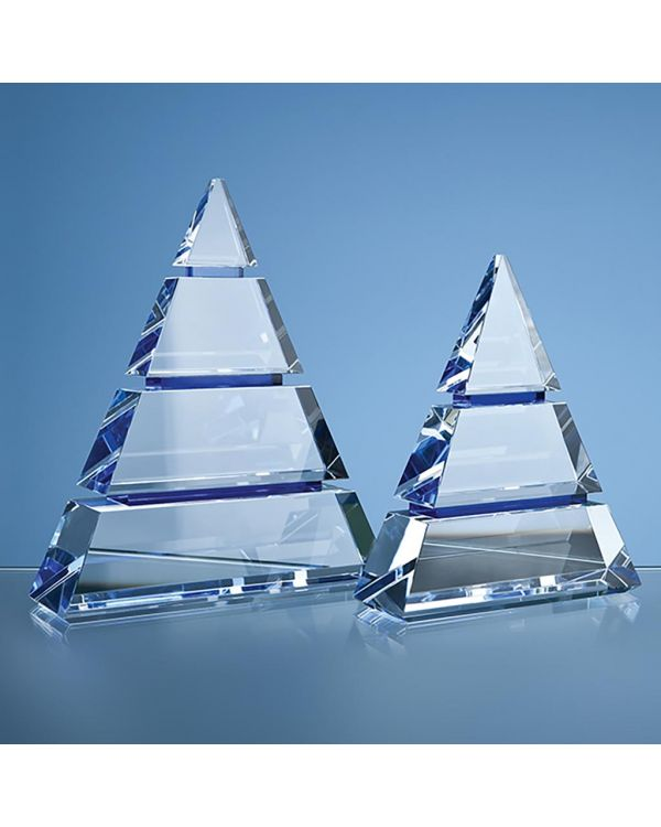 22.5cm Clear Optical Crystal Luxor Award with 3 Cobalt Blue Lines