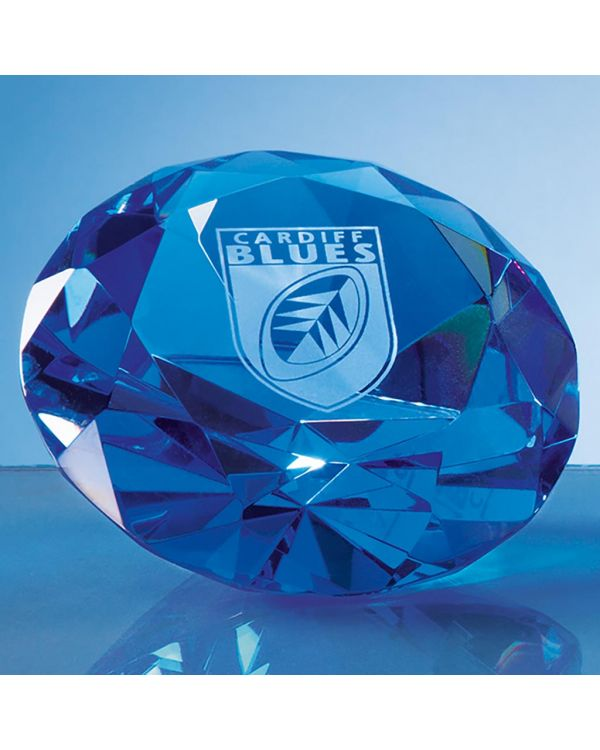 10cm Optical Crystal Blue Diamond Paperweight