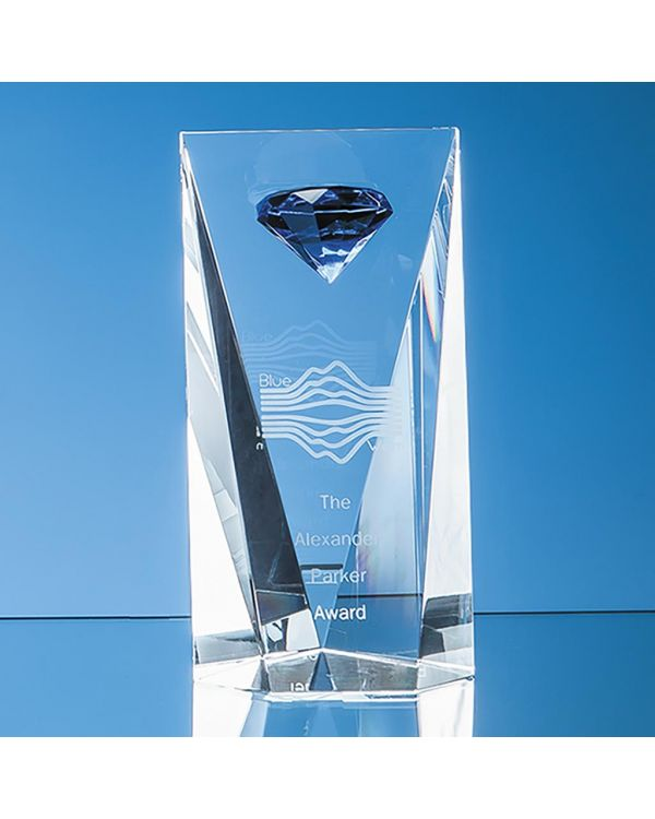 20.5cm Optical Crystal Facet Rectangle with a Mounted Sapphire Blue Diamond