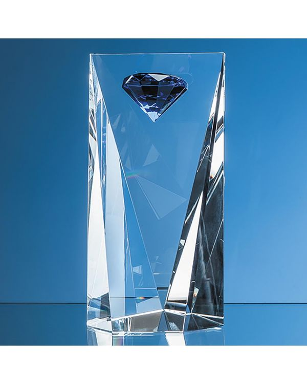 25cm Optical Crystal Facet Rectangle with a Mounted Sapphire Blue Diamond