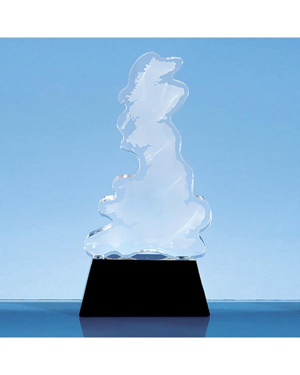 20cm Optical Crystal UK Silhouette Award on an Onyx Black Base