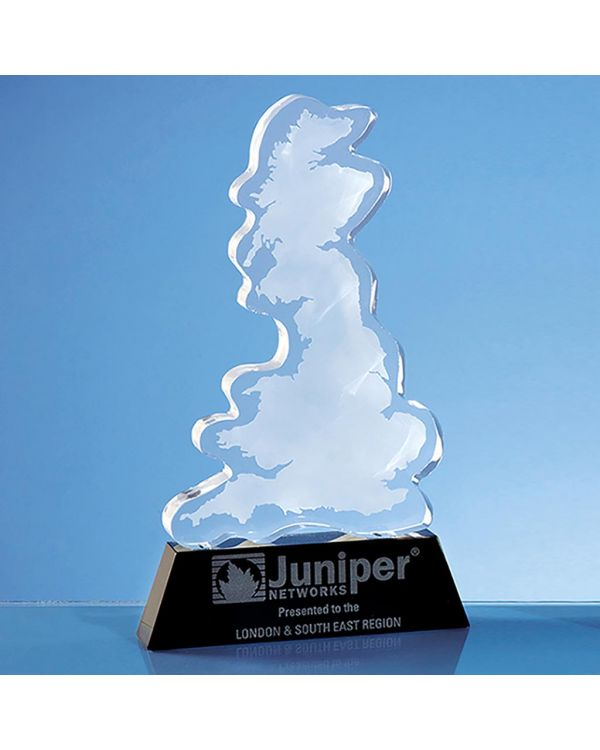 25cm Optical Crystal UK Silhouette Award on an Onyx Black Base