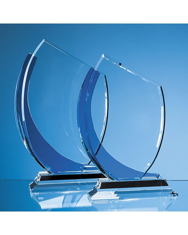 23cm Optical Crystal Slope Award with Sapphire Blue Curve