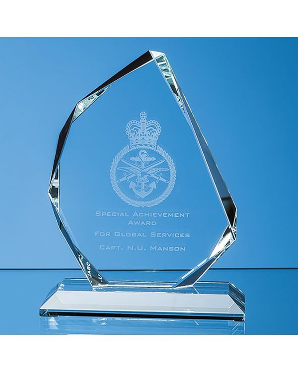 15cm x 11.5cm x 15mm Clear Glass Facetted Ice Peak Award