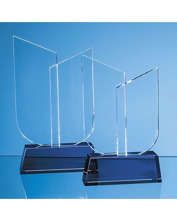 22cm Optical Crystal Double Slope Award on a Sapphire Blue Base