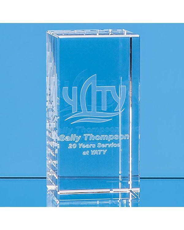 12cm x 6cm x 6cm Optical Crystal Rectangle, H or V