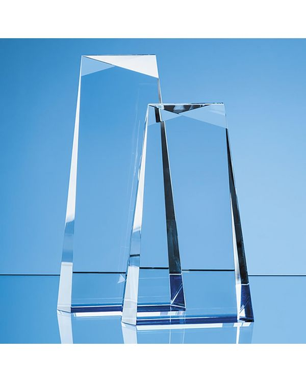 19cm Optical Crystal Facet Top Tapered Rectangle with a Cobalt Blue Base