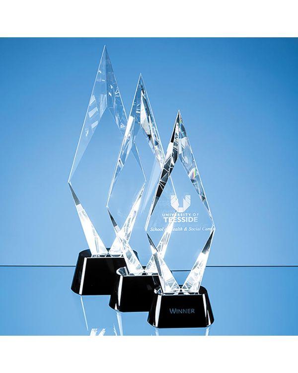 38.5cm Optical Crystal Facet Mounted Peak Award with Onyx Black Base