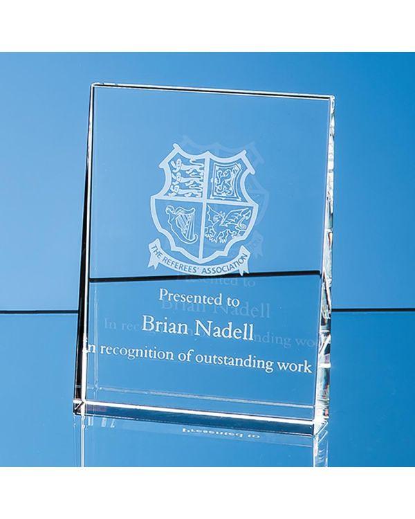 12cm Optical Crystal Vertical Wedge Award