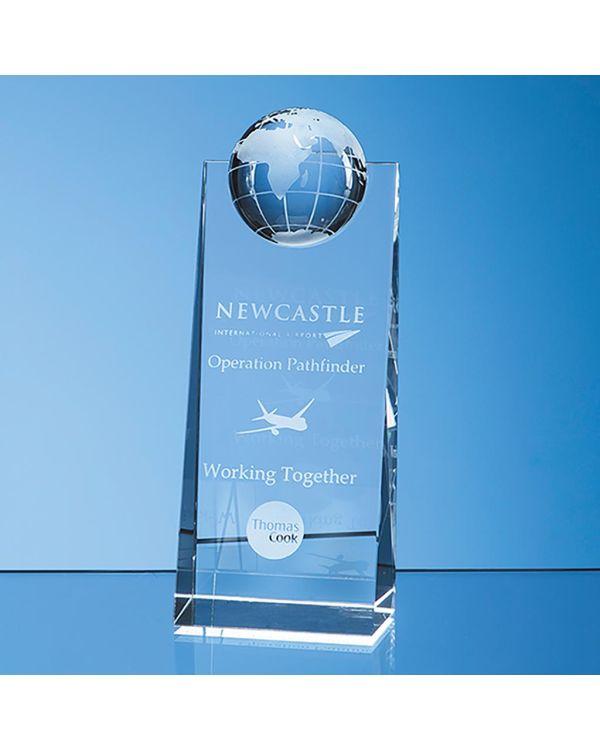 18cm Optical Crystal Globe Rectangle Award