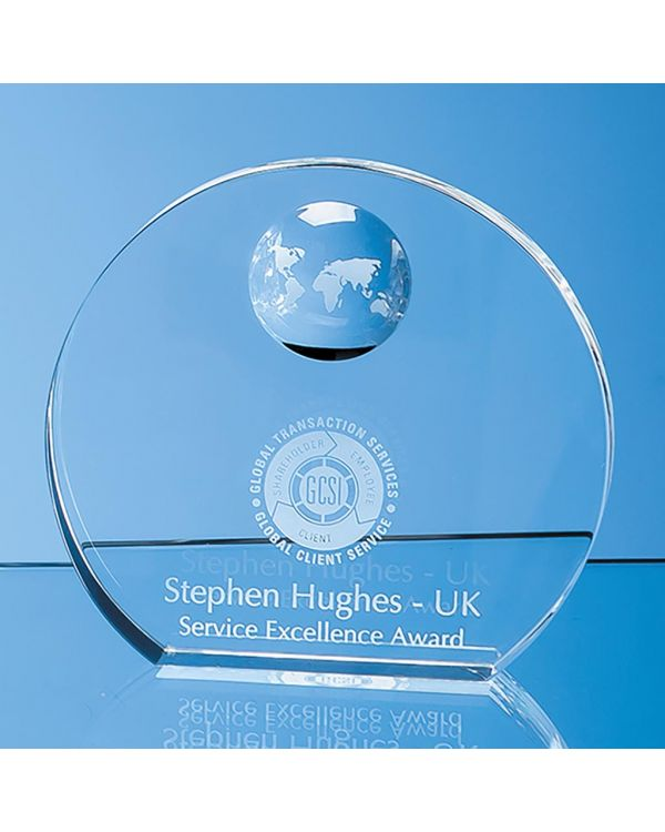14cm Optical Crystal Circle with Recessed Globe