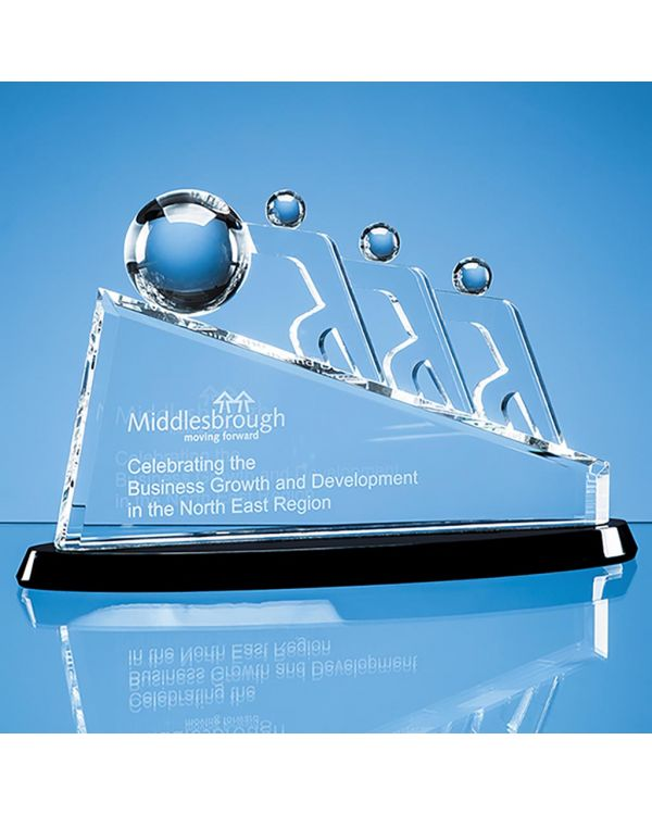 32cm Optical Crystal Slope Teamwork Award Mounted on an Onyx Black Crystal Base