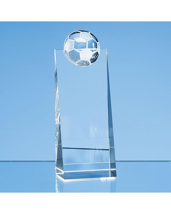 18cm Optical Crystal Football Rectangle Award