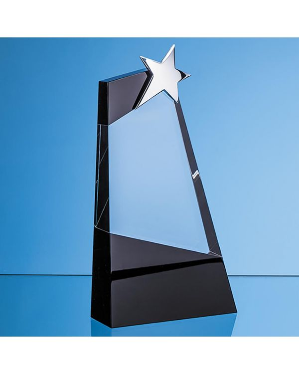 26cm Clear and Onyx Black Optical Crystal Slope Award with Silver Star