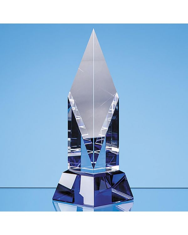 21.5cm Clear Optical Crystal Diamond Mounted on a Cobalt Blue Base