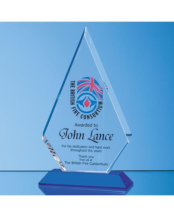 22.5cm Optical Crystal Facet Diamond Award on a Sapphire Blue Base
