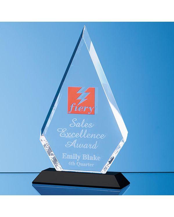 22.5cm Optical Crystal Facet Diamond Award on an Onyx Black Base