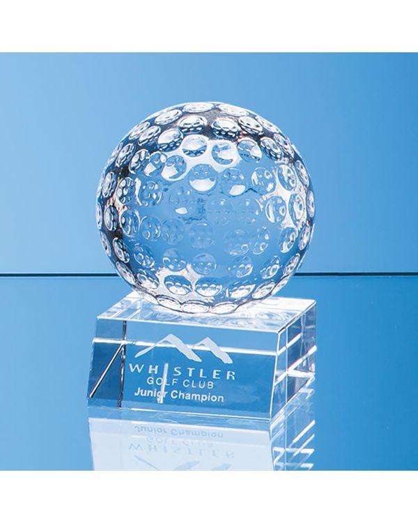 8cm Optical Crystal Golf Ball Mounted on a Clear Crystal Base