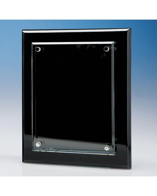 20.5cm x 15.5cm Clear Rectangle mounted on a Black Wood Plaque