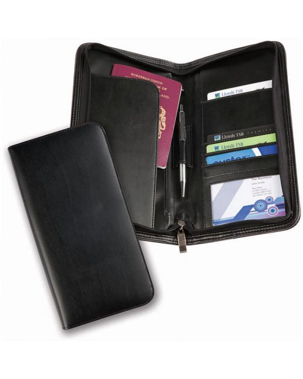 Brampton Bonded Leather Deluxe Zipped Travel Wallet