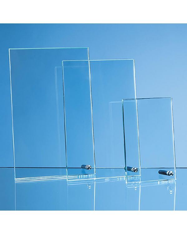 20.5cm x 12.5cm x 1cm Jade Glass Rectangle with Chrome Pin, H or V
