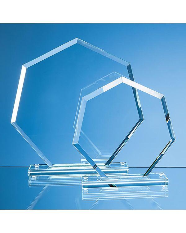22.5cm x 22.5cm x 1cm Jade Glass Bevelled Edge Heptagon Award