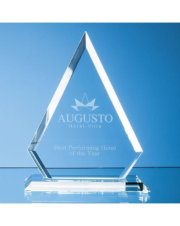 19cm x 15cm x 12mm Jade Glass Bevelled Edge Diamond Award
