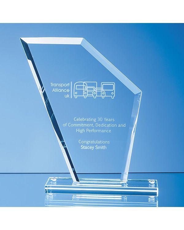 19.5cm x 16.5cm x 1cm Jade Glass Bevelled Edge Wing Award
